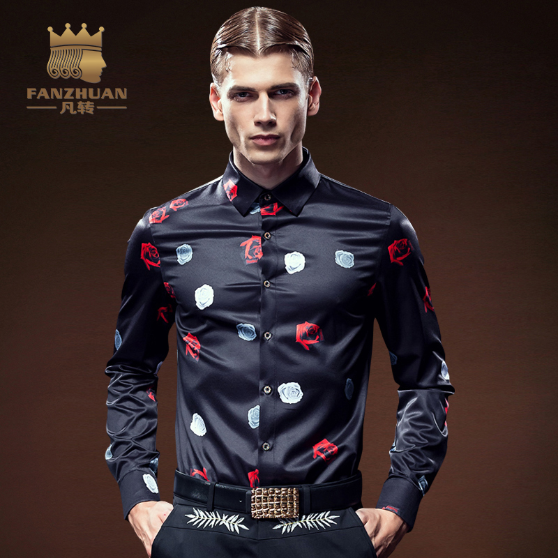 FANZHUAN 2017 New Arrival Luxury Brand Mens Shirts Long Sleeve Floral Men Shirt Designer Shirts Plus Size 5X ...