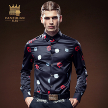 FANZHUAN 2017 New Arrival Luxury Brand Mens Shirts Long Sleeve Floral Men Shirt Designer Shirts Plus Size 5X