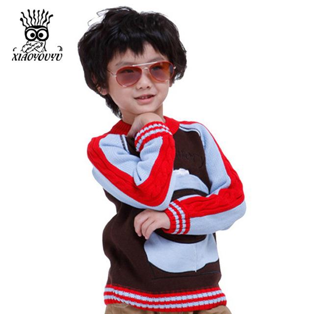 XIAOYOUYU Feliz Todos Os Dias Crianças O-pescoço Pullovers Tamanho 90-130 Bonito Dos Desenhos Animados Imprimir Boy Algodão Blusas de Malhas Frete Grátis