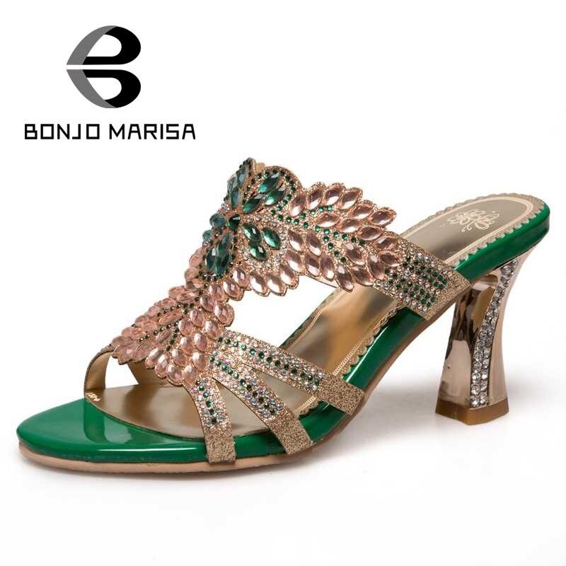 ФОТО BONJOMARISA Shinning Women Summer High Heel Rhinestone Flower Shoes Woman 2017 Brand Cutout Open Toe Less Platform Sandals