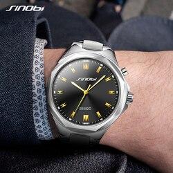 SINOBI Top Brand Luxury Men Wrist Watches Back Light Steel Watchband Men Watch relogio masculino Male Geneva Quartz Clock Hours
