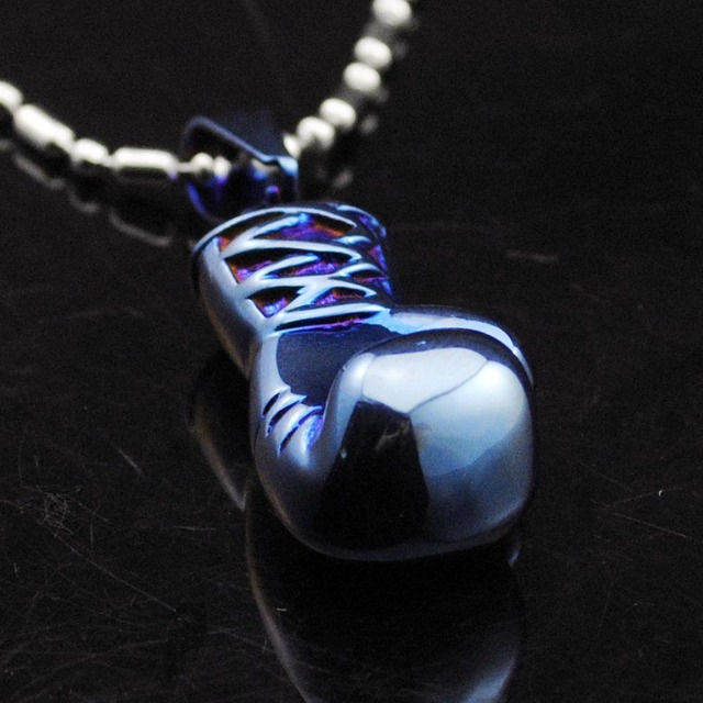 blue boxing gloves stainless steel size boxing pendant chain necklace couple jewelry