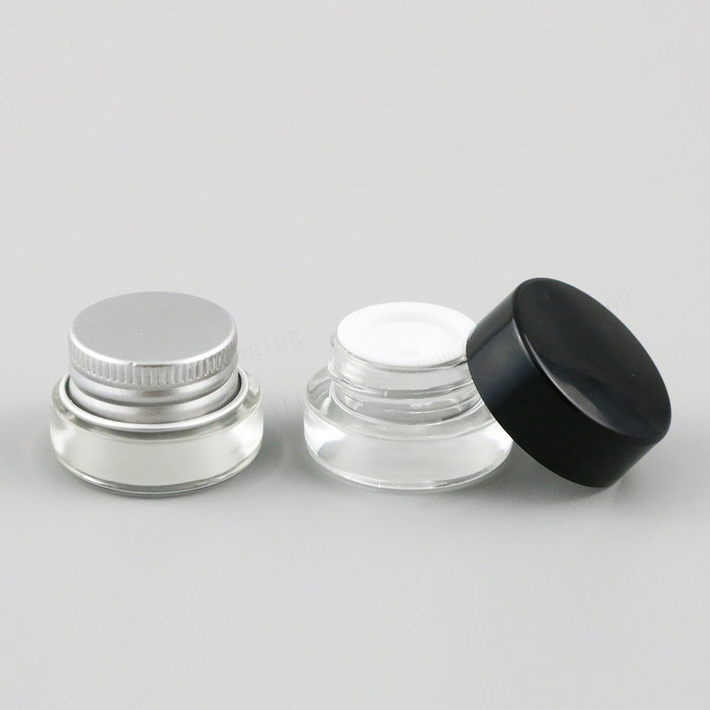 500 X 3g Traval Small cream make up Glass jar with aluminum lids white pe pad