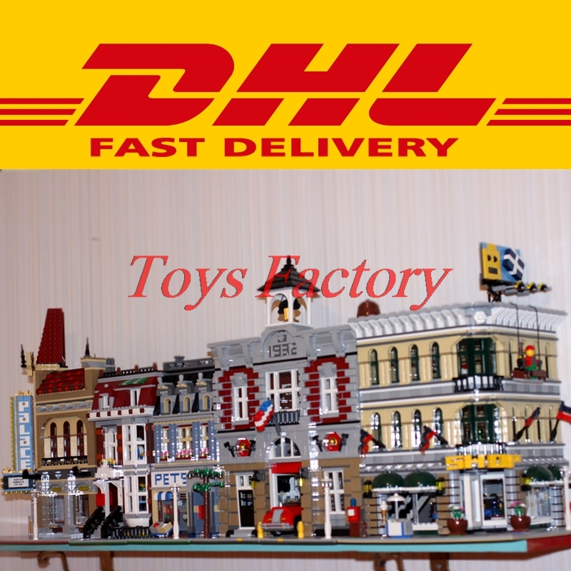 DHL LEPIN 15004 Fire Brigade+15005 Grand Emporium+15006 Palace Cinema+15009 City Street Pet Shop Model Building Kit Blocks