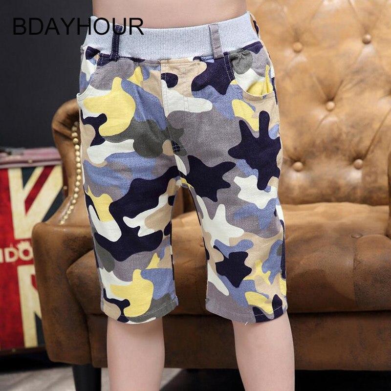 Summer Cool Beach Camouflage Sports Boy Shorts 2017 New Arrival Cotton Elastic Waist Thin Boy Straight