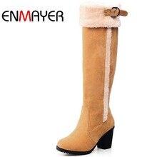 ENMAYER Snow Boots Size 34-43 New Design Knee High Boots Fur High Heels Warm Women Boots Snow Autumn Winter Boots Shoes Women  все цены