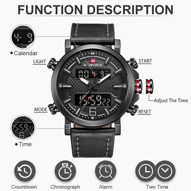 2019 NAVIFORCE New Men's Fashion Sport Watch Men Leather Waterproof Quartz Watches Male Date LED Analog Clock Relogio Masculino 4