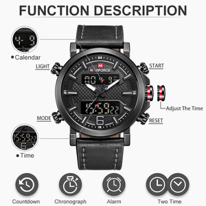 Image 4 - 2019 Naviforce Nieuwe Mannen Mode Sport Horloge Mannen Lederen Waterdichte Quartz Horloges Mannelijke Datum Led Analoge Klok Relogio Masculino
