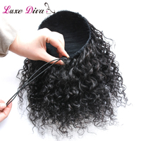 LD Natural Black Remy Hair 1 Piece Clip In Ponytails Drawstring 100% Human Hair Products Afro Kinky Curly Ponytail For Woman