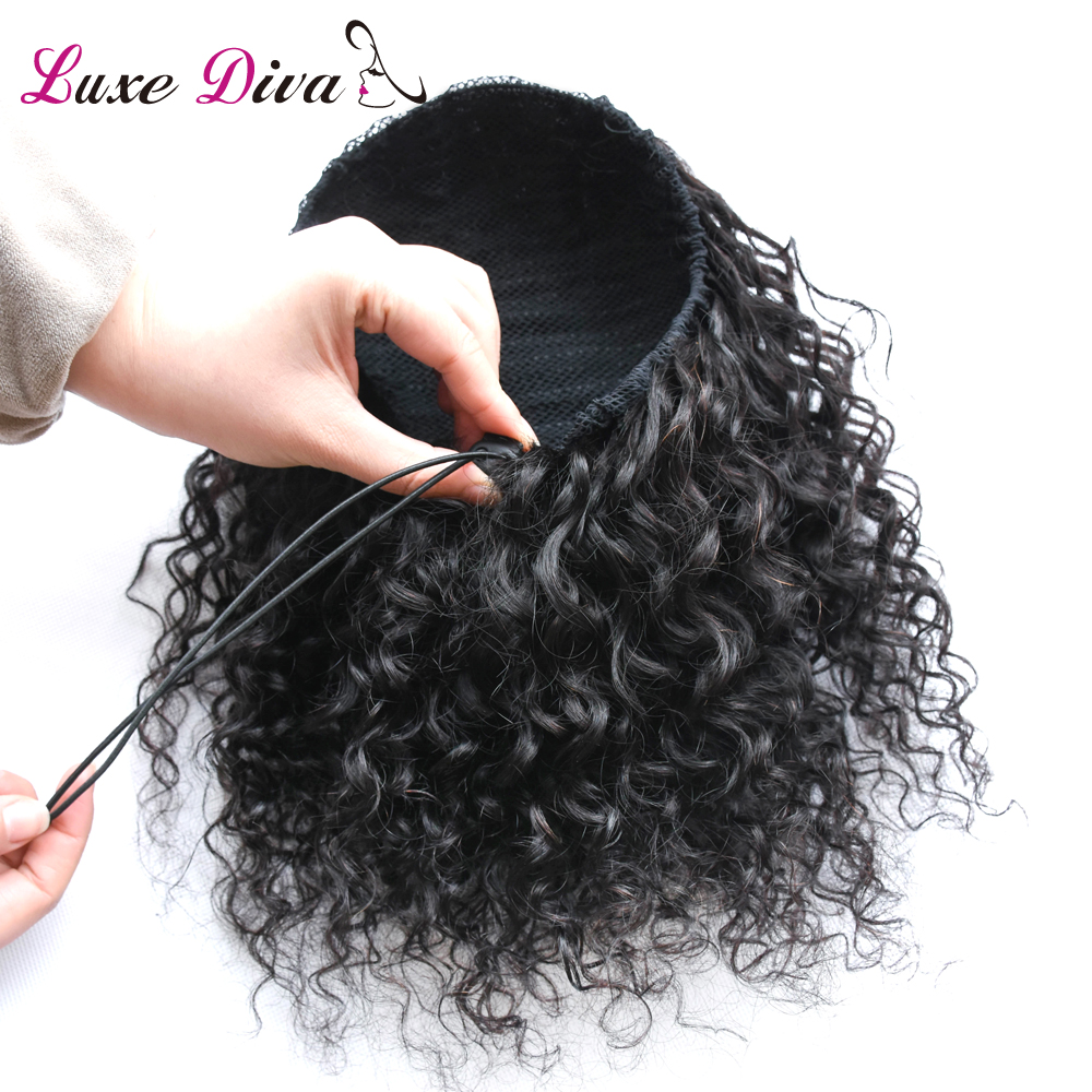 LD Natural Black Remy Hair 1 Piece Clip In Ponytails Drawstring 100% Human Hair Products Afro Kinky Curly Ponytail For Woman image