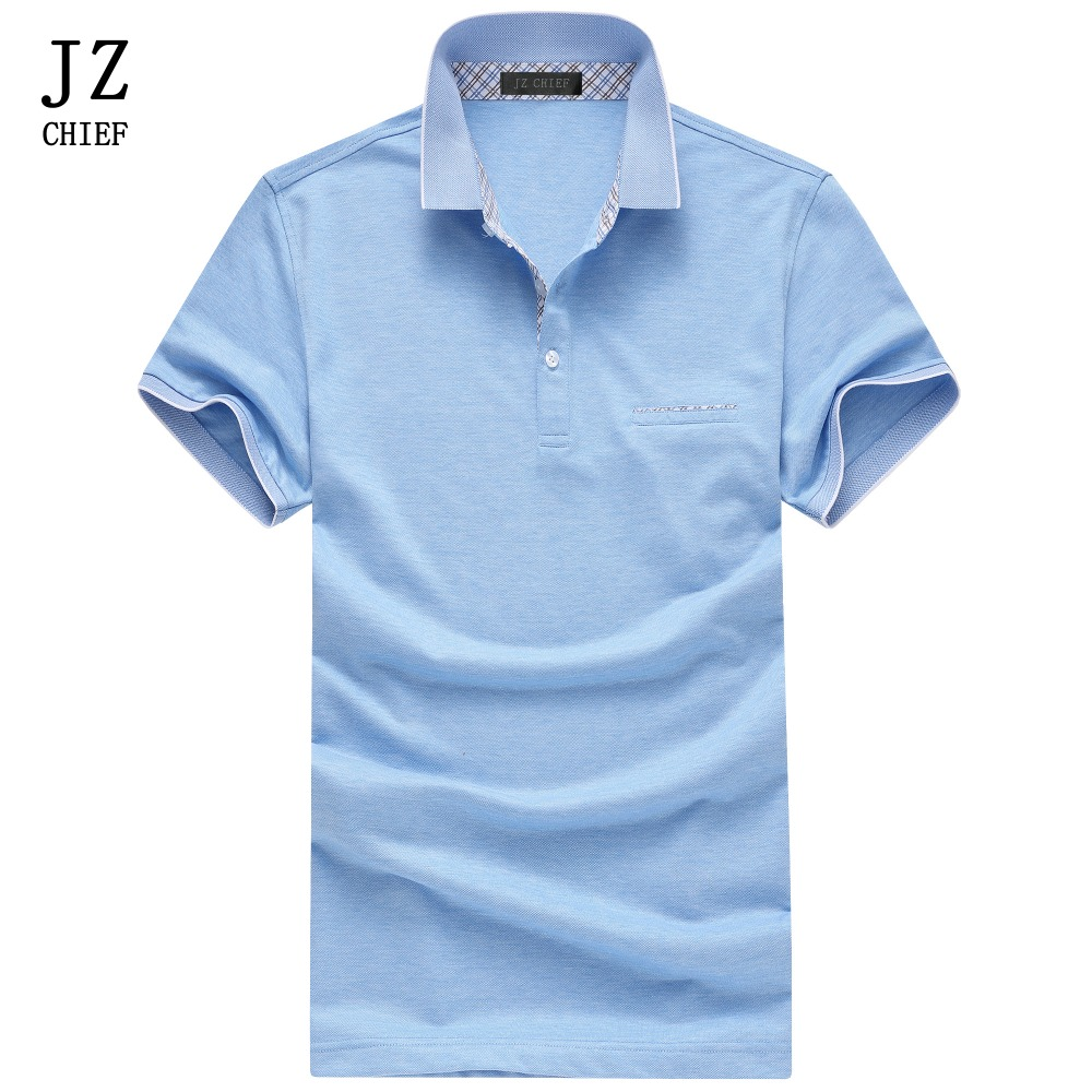 JZ CHIEF Business Office Polo Shirt Men Summer Short Sleeve Solid Color Slim Polo Shirt Casual Cotton Tops Polos Blue Pink Green dark blue color blocking three buttons short sleeve men s polo shirt