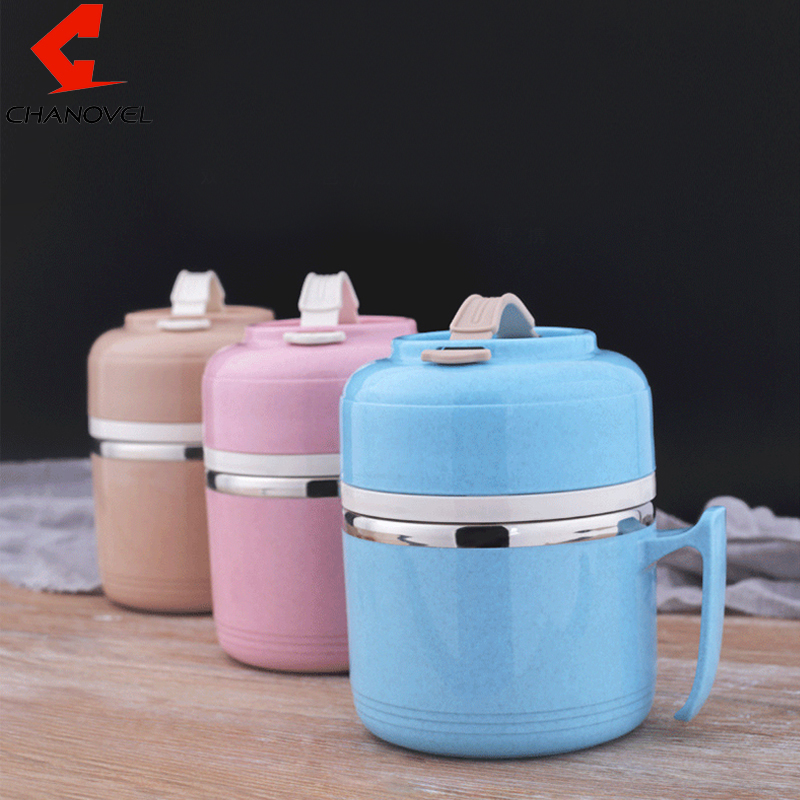 CHANOVEL Japanese Cute Stainless Steel Lunch Boxs Leak Proof Portable Bento Box With Handle Food Container