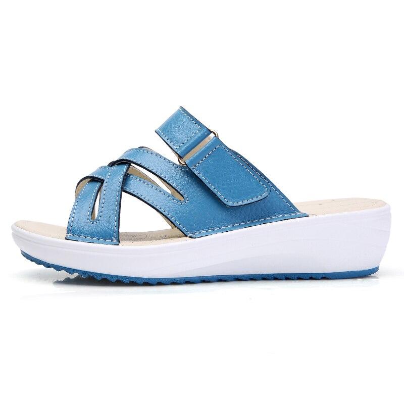 YAERNI 2018 Summer women slippers slip on round toe flat slides sandals women white black leather slippers flip flops slippers