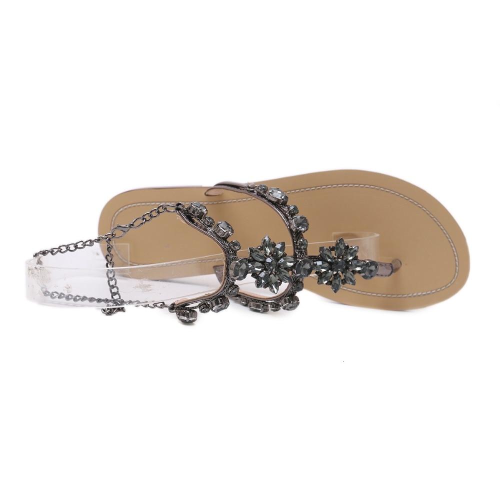 HTB1aytvq1GSBuNjSspbq6AiipXa4 6 Color Woman Sandals Women Shoes Rhinestones Chains Thong Gladiator Flat Sandals Crystal Chaussure Plus Size 46 tenis feminino