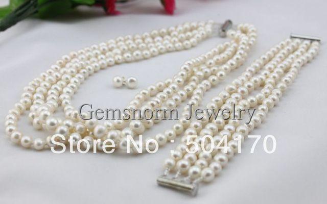 Luxury 4 Rows Pearl Necklace Bracelet Stud Earrings Set 7 8mm Freshwater
