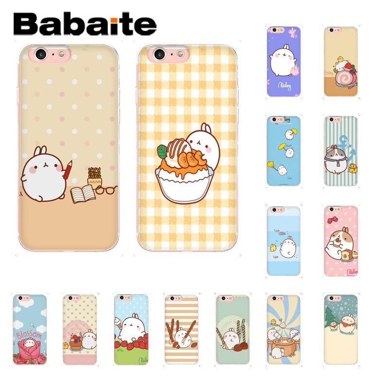 Babaite Cutest Kawaii Box Potatoes and rabbits Molang Novelty Fundas Phone Case for iPhone 8 7 6 6S Plus X XS MAX 5 5S SE XR 10