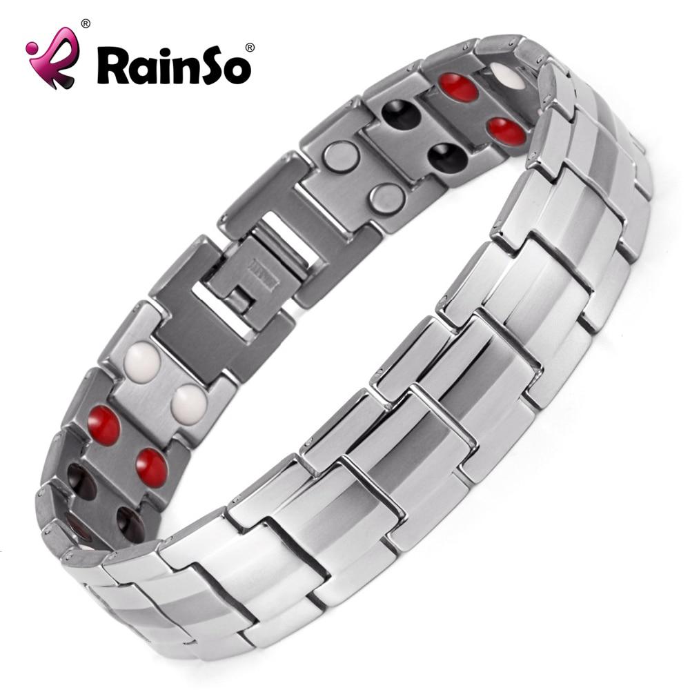 Rainso Heren Double Row 4 Elements Gezondheidszorg Magnetische armband Zilver RVS Therapiearmbanden Best Gift OSB-1537S