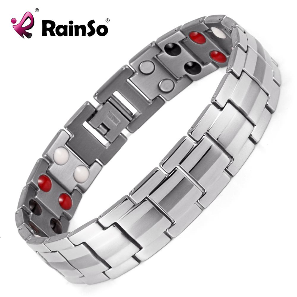 Rainso 남자의 더블 행 4 요소 건강 관리 자기 팔찌 실버 스테인레스 스틸 치료 팔찌 베스트 선물 OSB-1537S