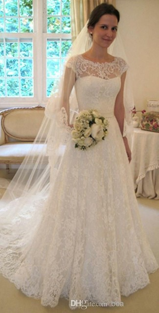 Vestido de noiva renda manga curta