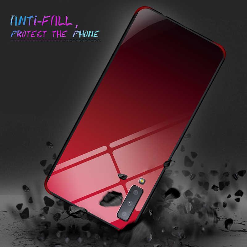 Gradiente vidro temperado caixa do telefone para samsung galaxy a7 2018 3d flip silicone capa para samsung a7 2018 j4 j6 plus a9 a6 a8 plus
