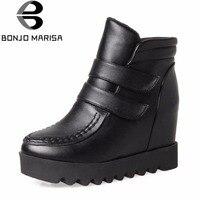 BONJOMARISA 2018 Winter Hot Sale Ankle Platform Boots Women Sewing Waterproof Shoes Woman Height Increasing Footwear 33 44