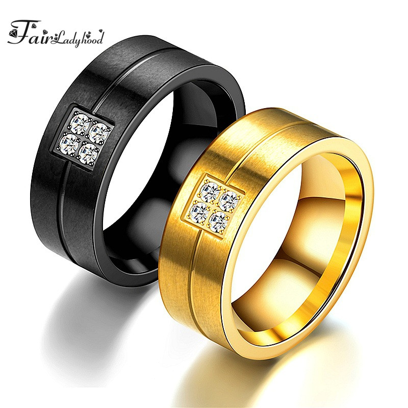 FairLadyHood Factory Wholesale Zicorn Couple Ring Stainless  Hot Simple Steel Wedding Rings