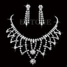 Новый Свадьба Невеста Невесты Кристалл Горного Хрусталя Ожерелье Серьги Пром Ювелирные Наборы