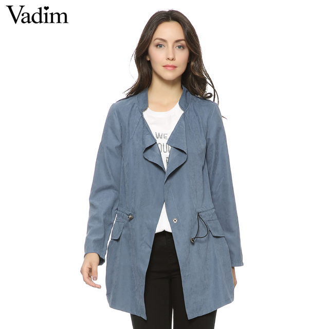 Phụ nữ mùa thu văn phòng dài rãnh đầy đủ tay áo dây kéo Eo áo khoác casaco nữ tính giản dị thời trang dạo phố CT1089