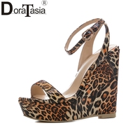 DoraTasia 2018 Large Size 34 41 Wedge High Heels Women Pumps Buckle Strap Peep Toe Leopard
