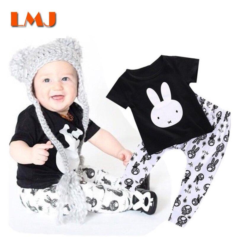 ブランド子供服セットファッション黒ウサギtシャツ+ロングパンツ2ピース/ロット