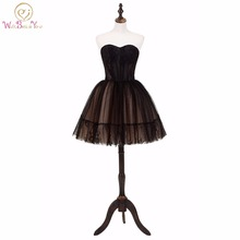 Walk Beside You Black Prom Dresses Lace Vestido De Formatura Short Evening Gown Ball Gown Strapless Formal Formatura Graduation