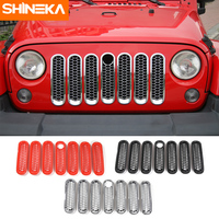 SHINEKA ABS Front Grille Ring Honeycomb With And Without Key Hole Grille Cover For Jeep Wrangler