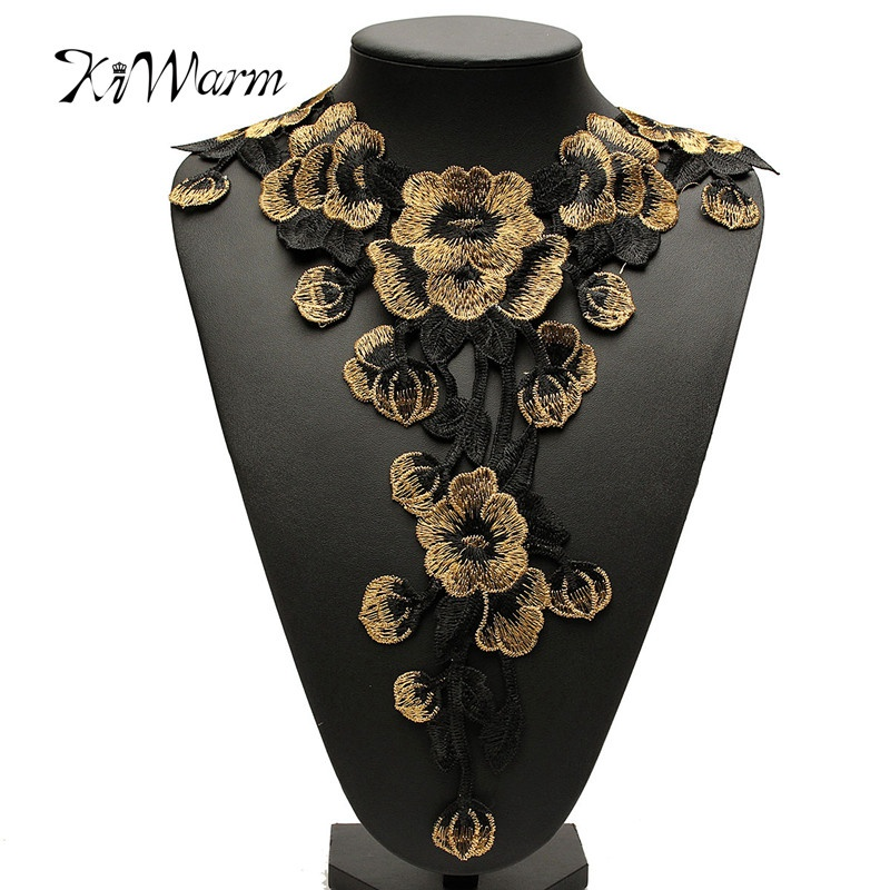 3D Flower Floral Guipure Collar Lace Trim Broderad Hals Applique Sömnad Craft Classic Broderi Collar Fake Neckline Presenter