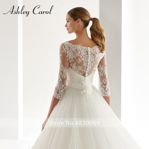 Image 5 - Ashley Carol A Line Wedding Dress 2020 Fashion Scoop Half Sleeve Illusion Court Train Bride Dress Romantic Simple Bridal Gowns