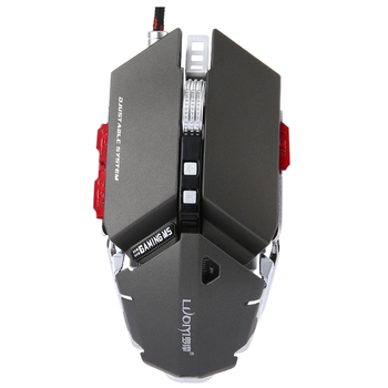 LUOM G50 Wired Programmable 10 Buttons 4000 DPI Professional Optical Mechanical Ergonomics Gaming Mouse, Gray เมาส์