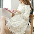 Одежда для беременных Мода Новый Полный Рукав Кружева Dress для Беременных Мило Белый Цвет Платья Беременность Одежда Плюс Размер