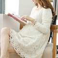 Maternidade roupas de moda de nova completo manga lace dress para as mulheres grávidas bonito branco cor vestidos gravidez roupas plus size