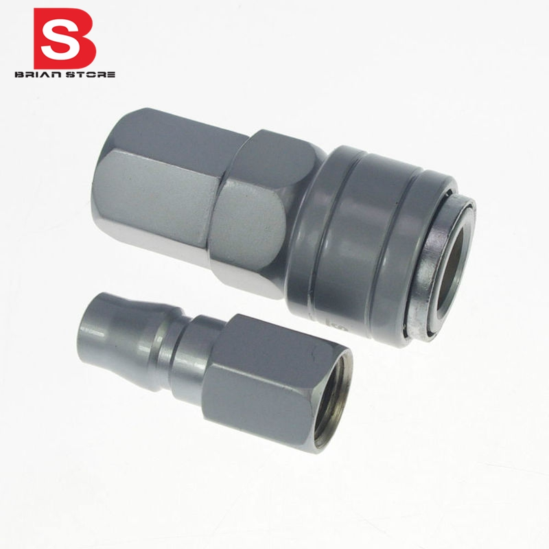 1/4  Female Air Compressor Quick Coupler Connector Alloy Steel Self Lock one hand operation SF 20 PF 20 12mm hose air compressor quick coupler connector steel self lock sh 40 ph 40