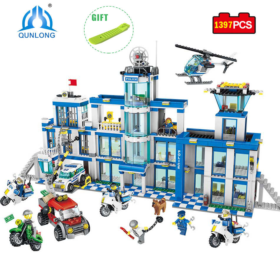 Qunlong Police Station Set Assembled DIY Model Building Blocks Christmas Gift Toys For Kids Compatible Legoe Minecrafted City police pl 12921jsb 02m