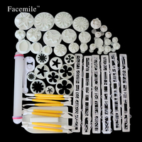55Pcs Set Fondant Cookie Cutter Sugarcraft Cake Decorating Fondant Plunger Cutter Cookies Tools In Kitchen 04121