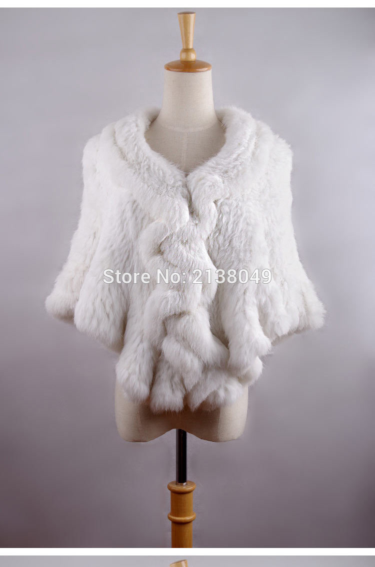 SF0167 real rabbit fur knitted fur coat women fashion jumper /natural grey white fur shawl coat