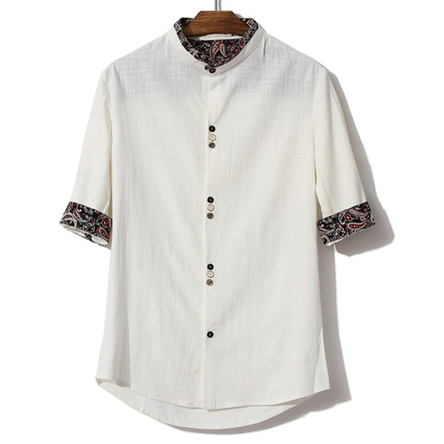 28395dba605 Mandarin Collar Shirt 2016 Summer Plus Size 4Xl 5XL Flower Trim Stand  Collar Shirt White Black