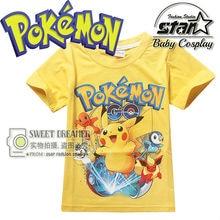 New Cartoon Pokemon Go T Shirts Boys Pikachu T Shirts Kids Fashion Short Sleeve Anime Children