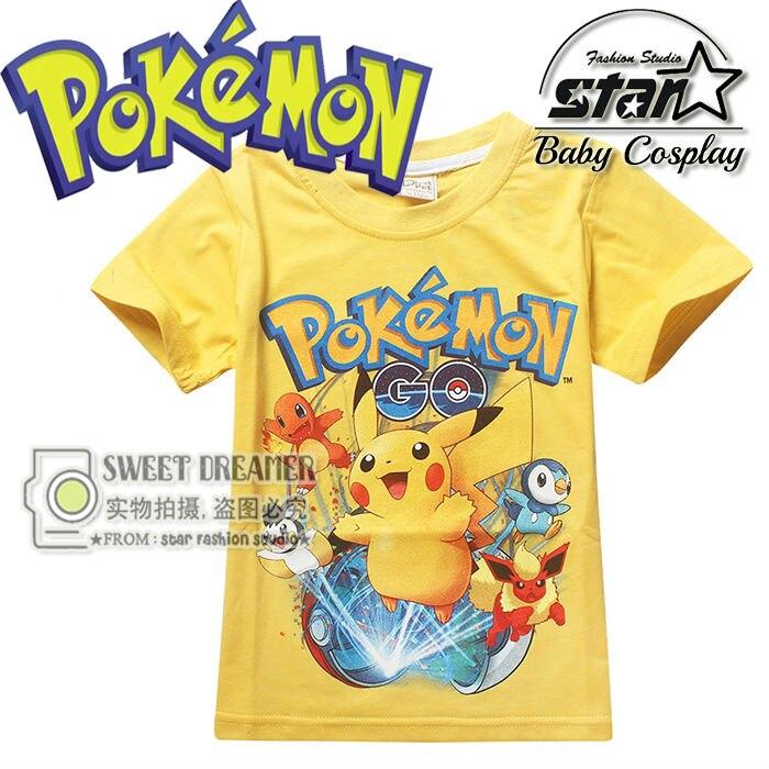 New Cartoon Pokemon Go T Shirts Boys Pikachu T Shirts font b Kids b font Fashion