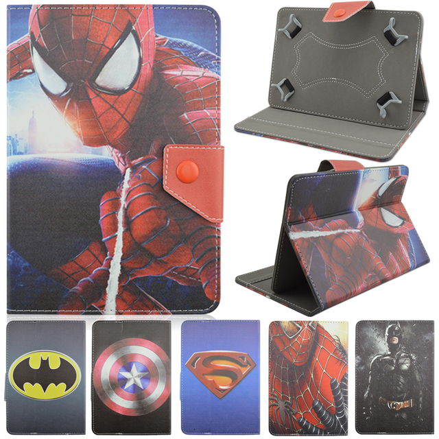 Universal PU Leather Stand Case Cover Spiderman Batman Superman For 8 inch Android Tablet Cases For Samsung Apple iPad Prestigio