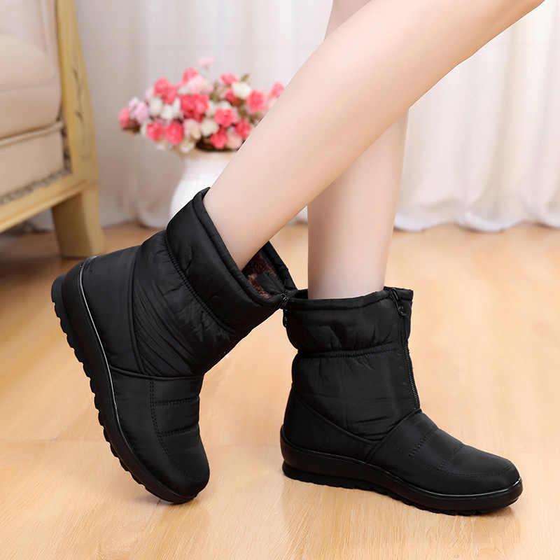 Kadın botları kış ayakkabı kadın kar botları fermuarlı peluş İç botas mujer su geçirmez antiskid kadın patik size41 WSH3146