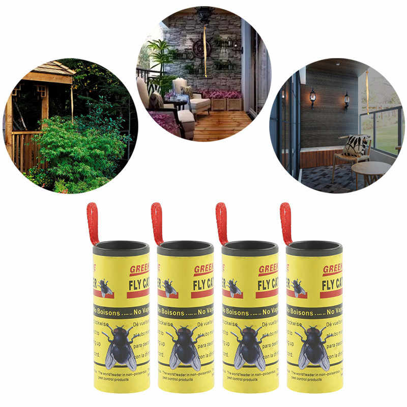 Dropship Sticky Fly Papier Elimineren Vliegt Insect Bug Huis Tuin Lijm Papier Catcher Trap Fly Bug Mosquito Killer Val Apparaat