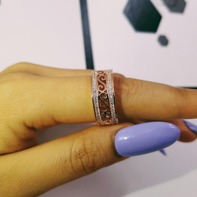 roségold silber farbe 925 sterling silber hochzeit band - Modeschmuck - Foto 3
