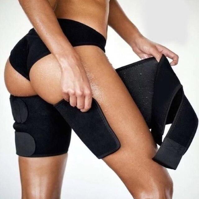 Men and women leg shaper sauna sweat thigh adjustable leggings weight loss hot neoprene compression belt sports knee pads 2