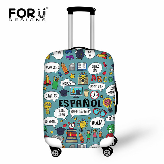 df26e1dbf2a44 FORUDESIGNS nauczycielem hiszpańskiego druku bagażu pokrywa Protect walizki  na 18-30 cal wózek walizka elastyczna Stretch akcesoria podróżne